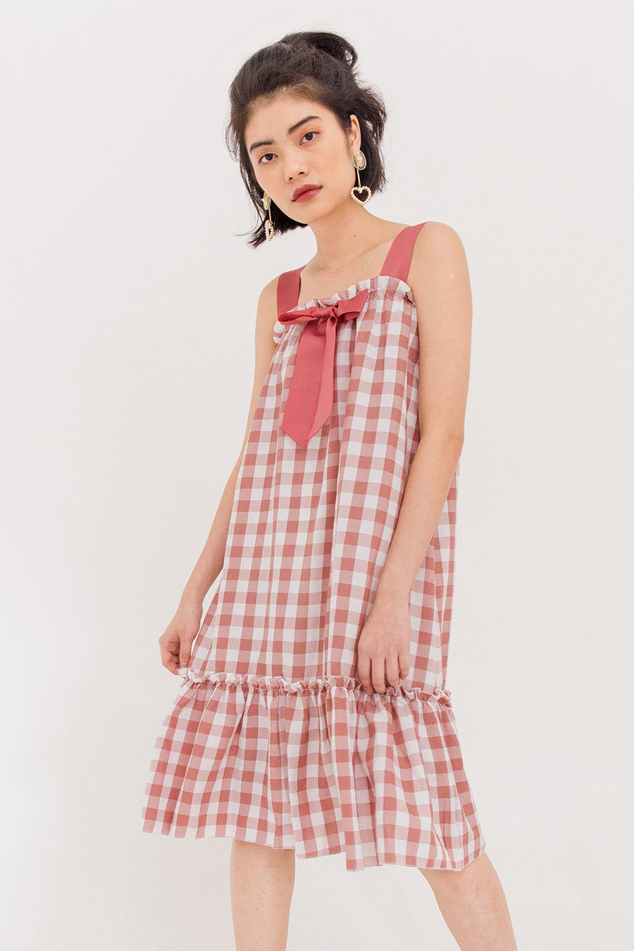 *SALE* PENNY GINGHAM MIDI DRESS - MAUVE