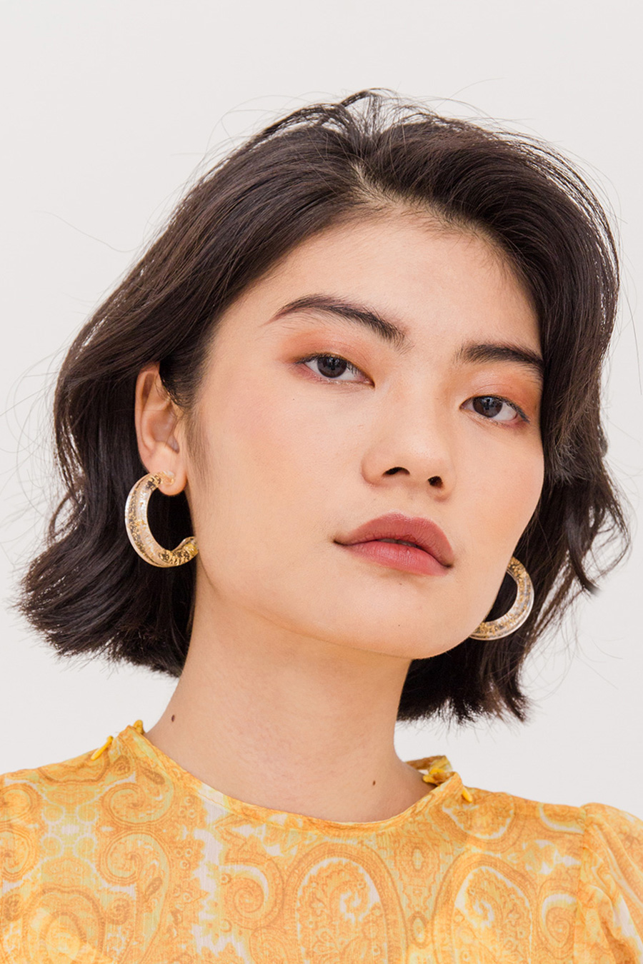 PERAL GOLD FLAKES EAR RING - GOLD