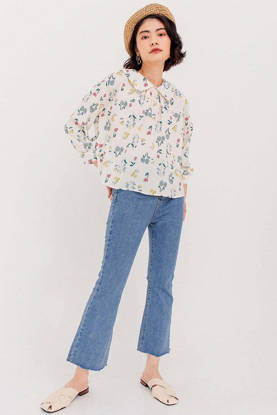 *BO* ROLLA FLORAL PRINTED BLOUSE - IVORY CREAM