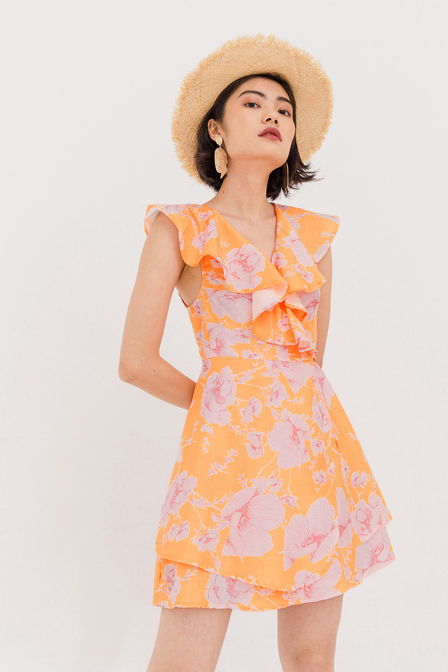 *SALE* SABINE FLORAL WRAP DRESS - TANGERINE