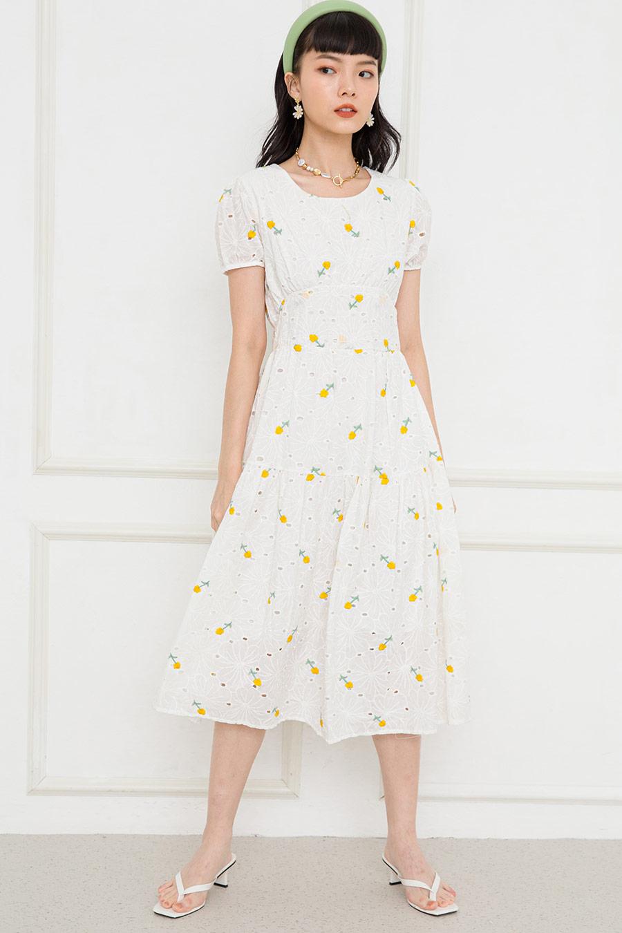 SADIE DRESS - IVORY FLEUR