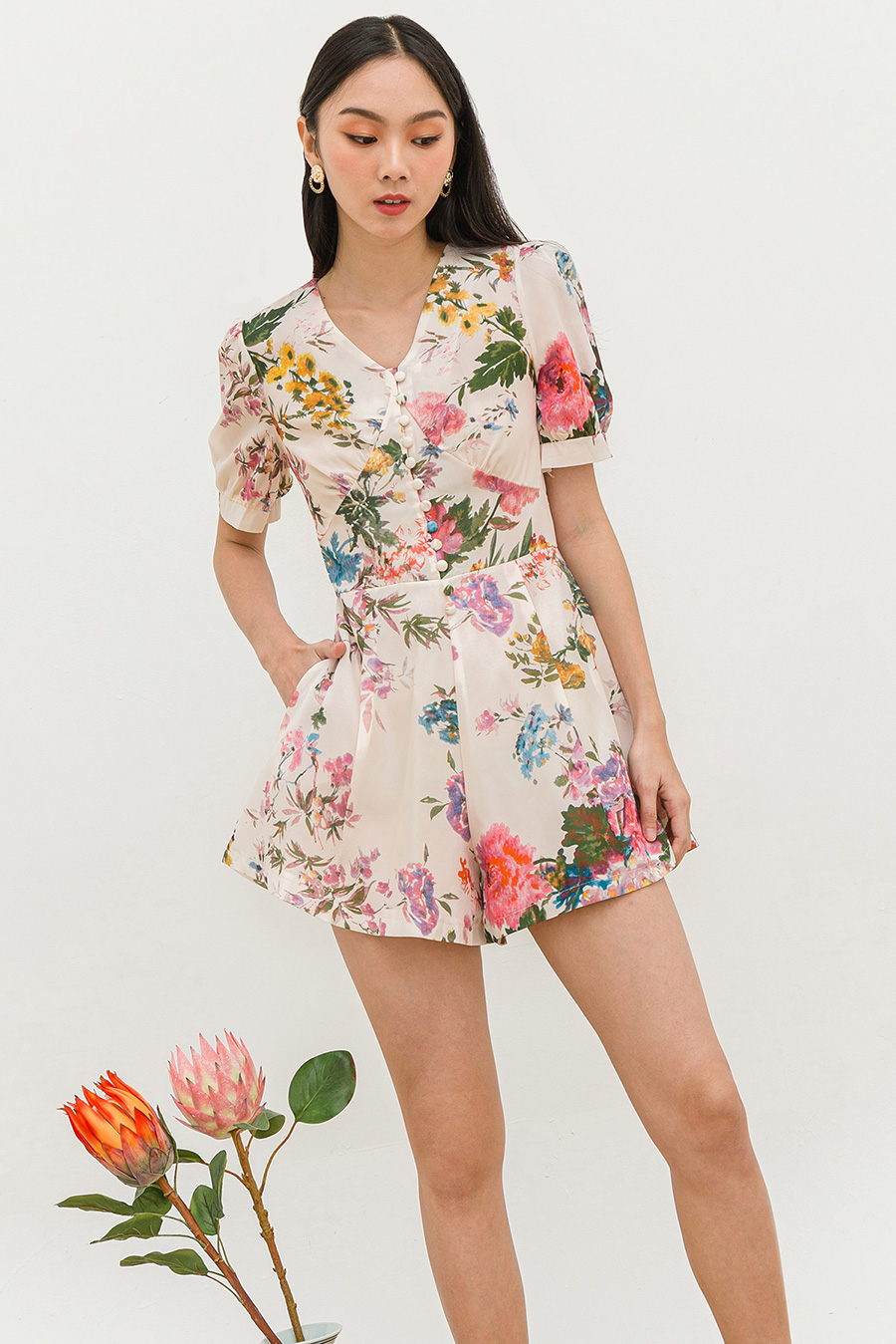 *RESTOCKED* SAEKO PLAYSUIT - PRIMROSE