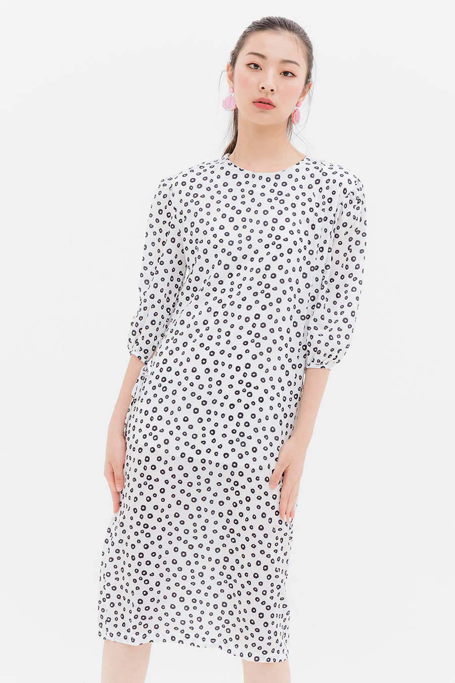 SANDER DRESS - IVORY DOTTY