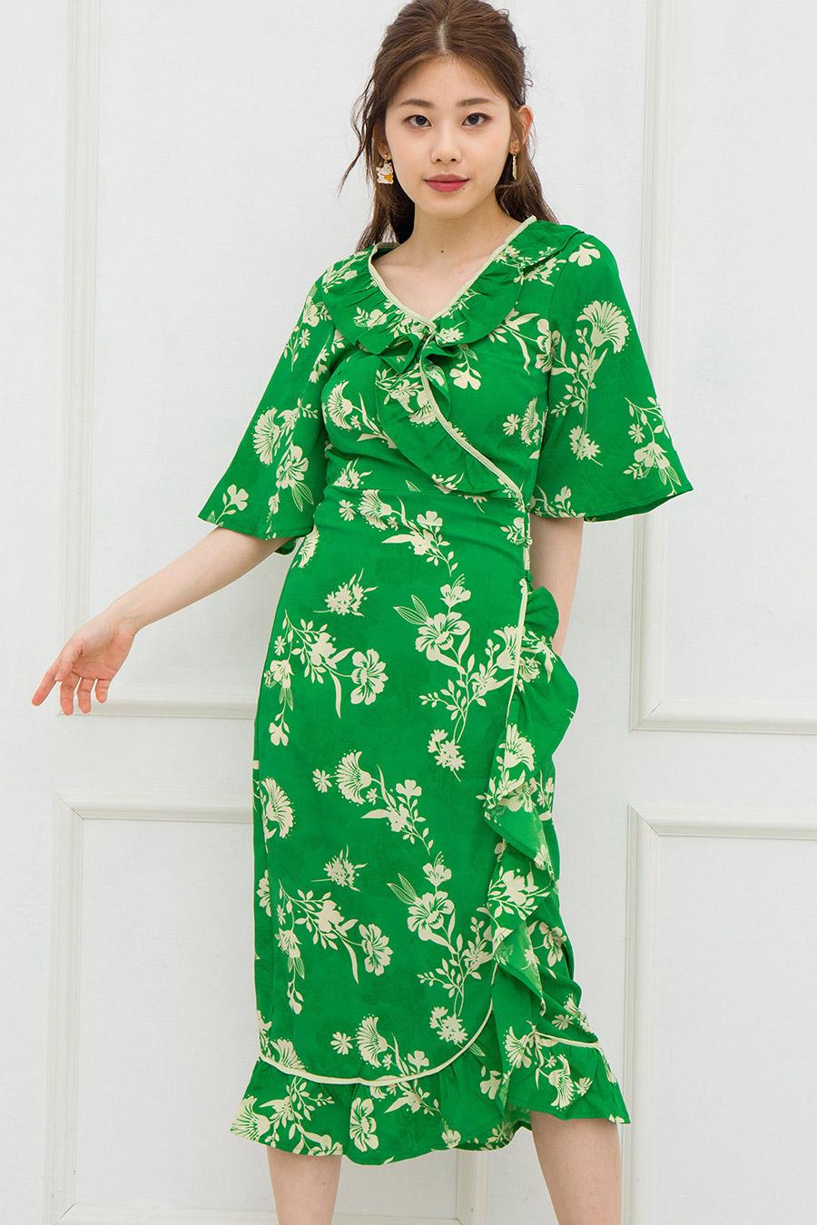 SARAH DRESS - EMERALD FLEUR