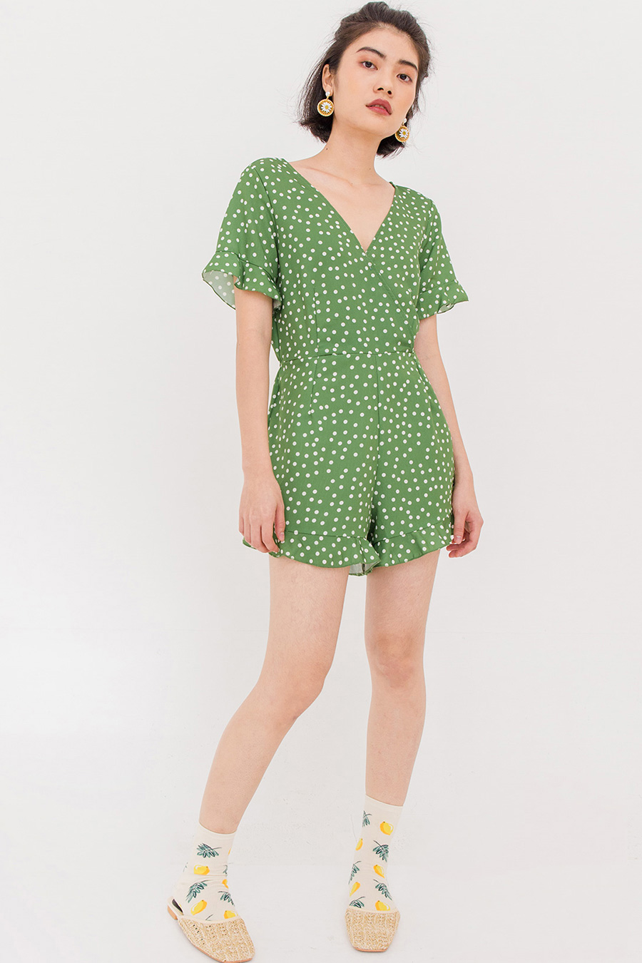 SELVA DOTTED PLAYSUIT - FERN GREEN