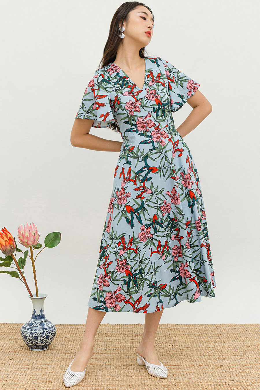 *RESTOCKED* SHANDY DRESS - BIRDS OF PARADISE [BY MODPARADE]