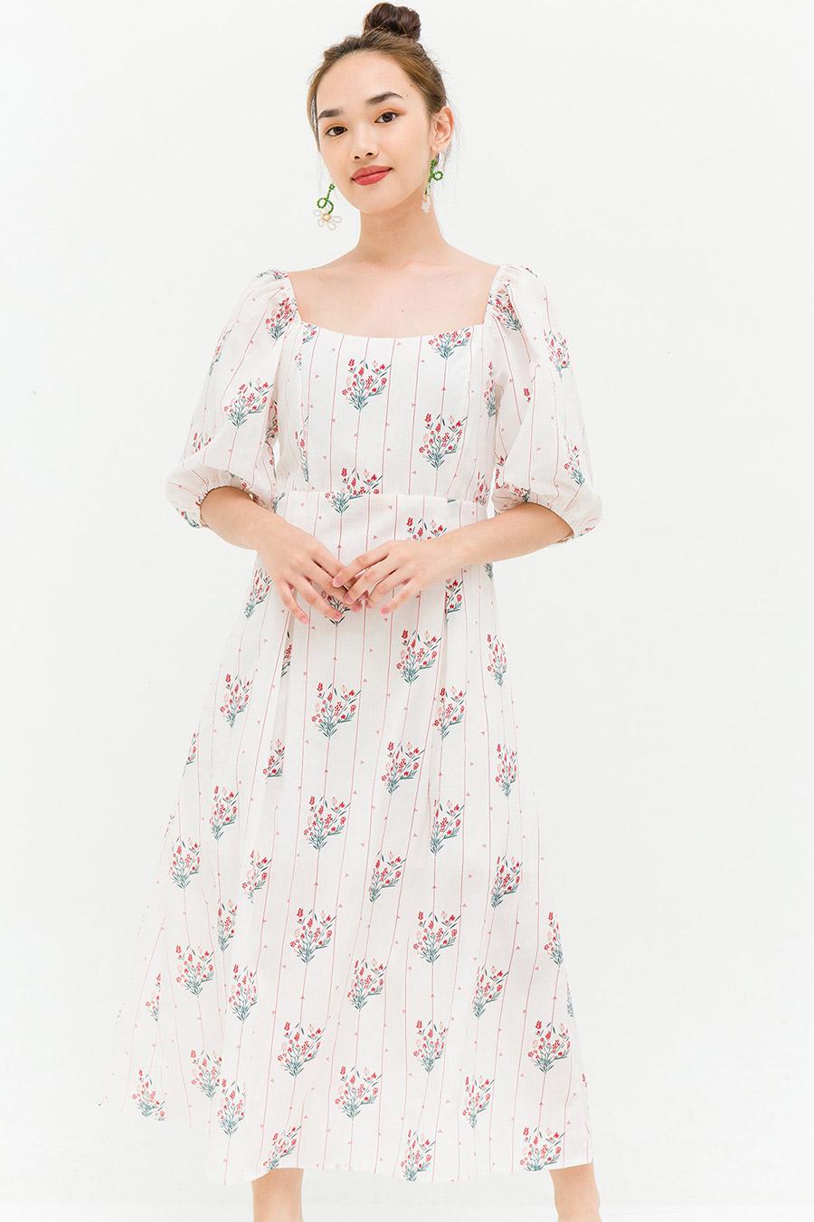 SHELIA DRESS - IVORY FLEUR