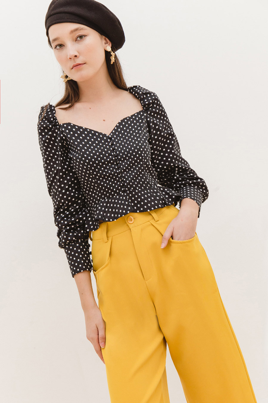 SHERRY TOP - NOIR DOTTY