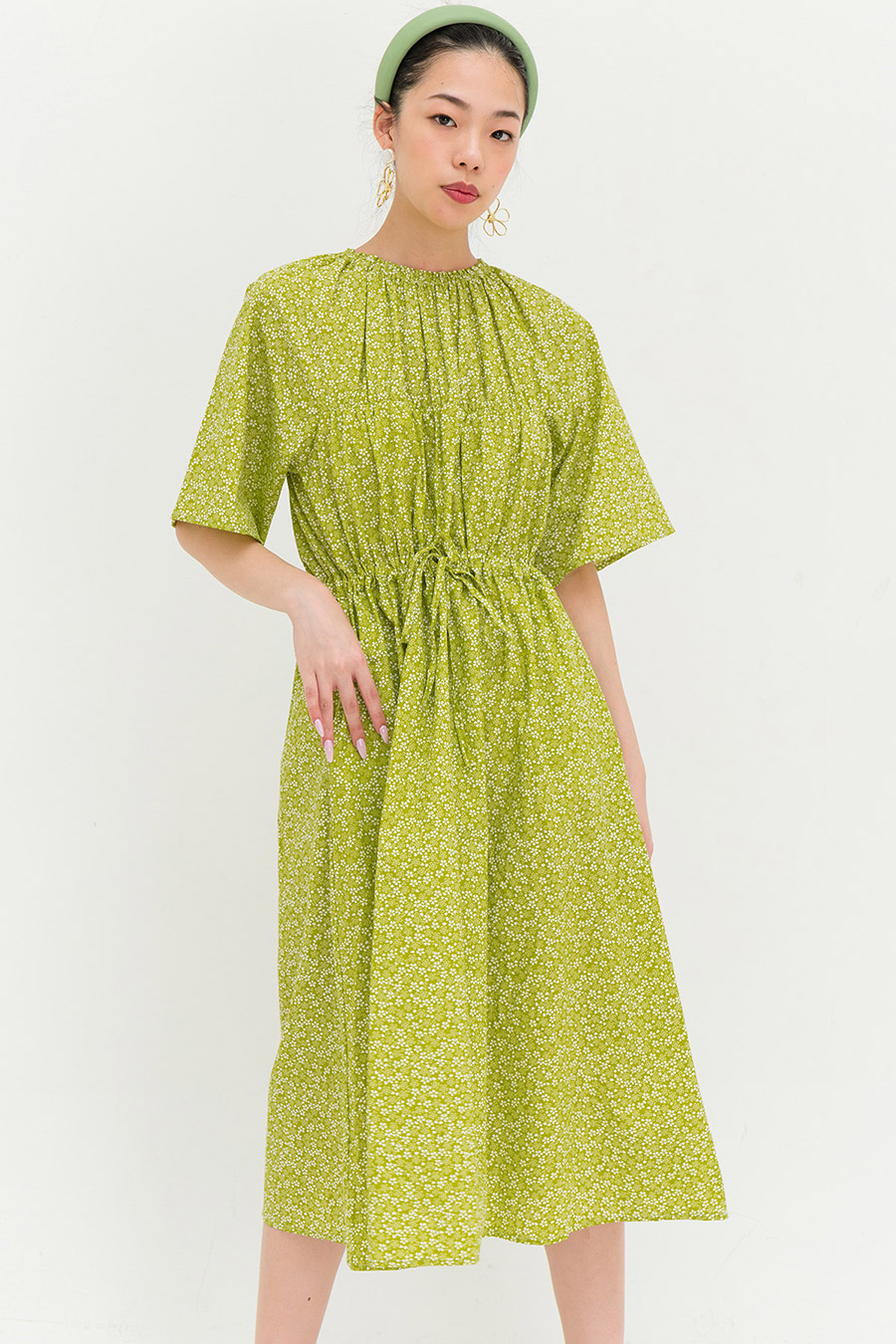 SOFIA DRESS - OLIVE FLEUR