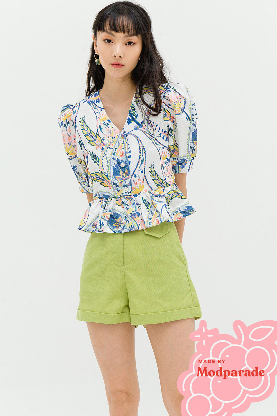 SOLANGE TOP - CLOUD PAISLEY [BY MODPARADE]