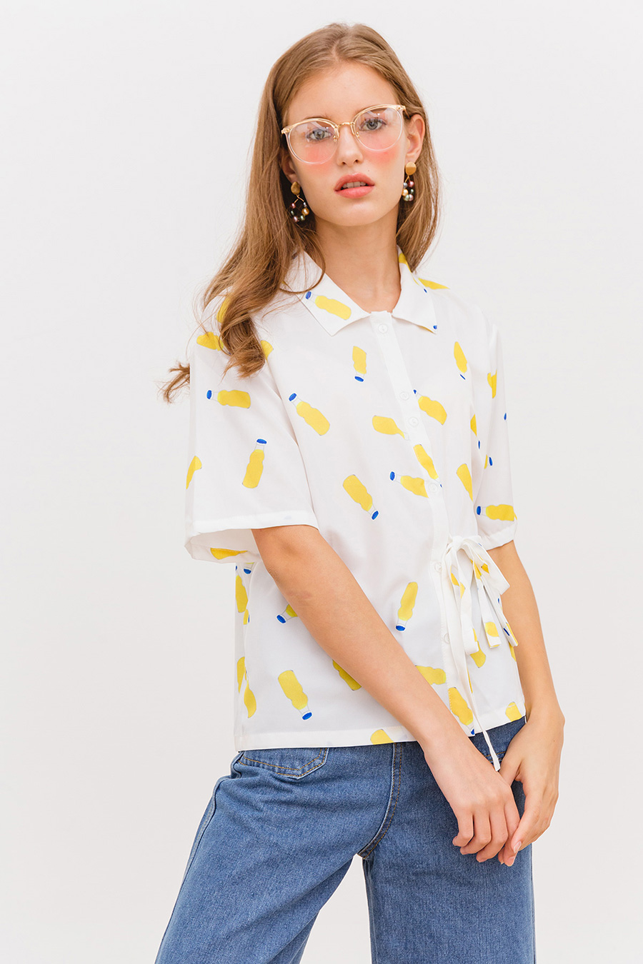 SUMMER DRINK TOP - IVORY PRINT