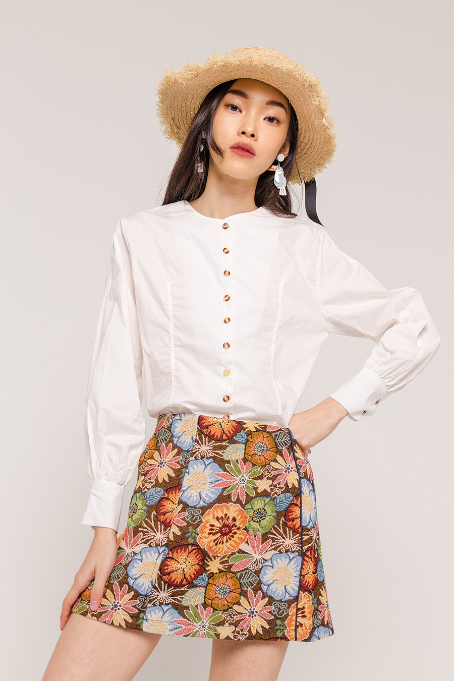 SUSAN BUTTON DOWN BLOUSE - IVORY [QUEENDOM]