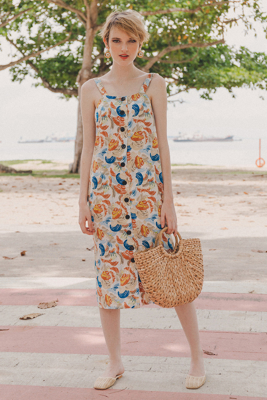 TAHITI THICK STRAP DRESS - SWIRL PRINT [BY MODPARADE]