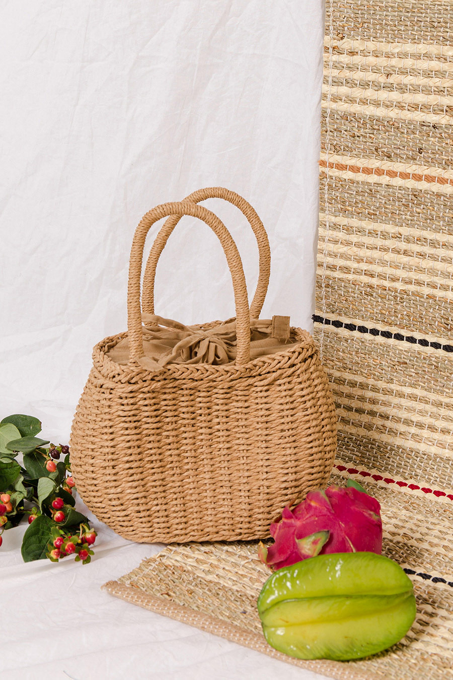 TALLULAH WEAVE BASKET BAG - NATURAL [QUEENDOM]
