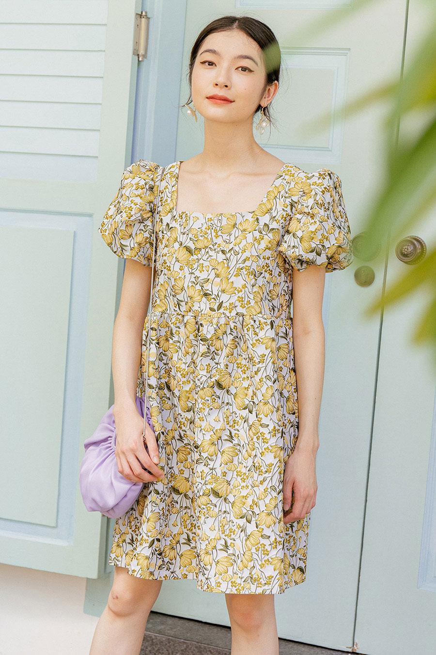 *BO* TAMARA DRESS - CANARY FLEUR