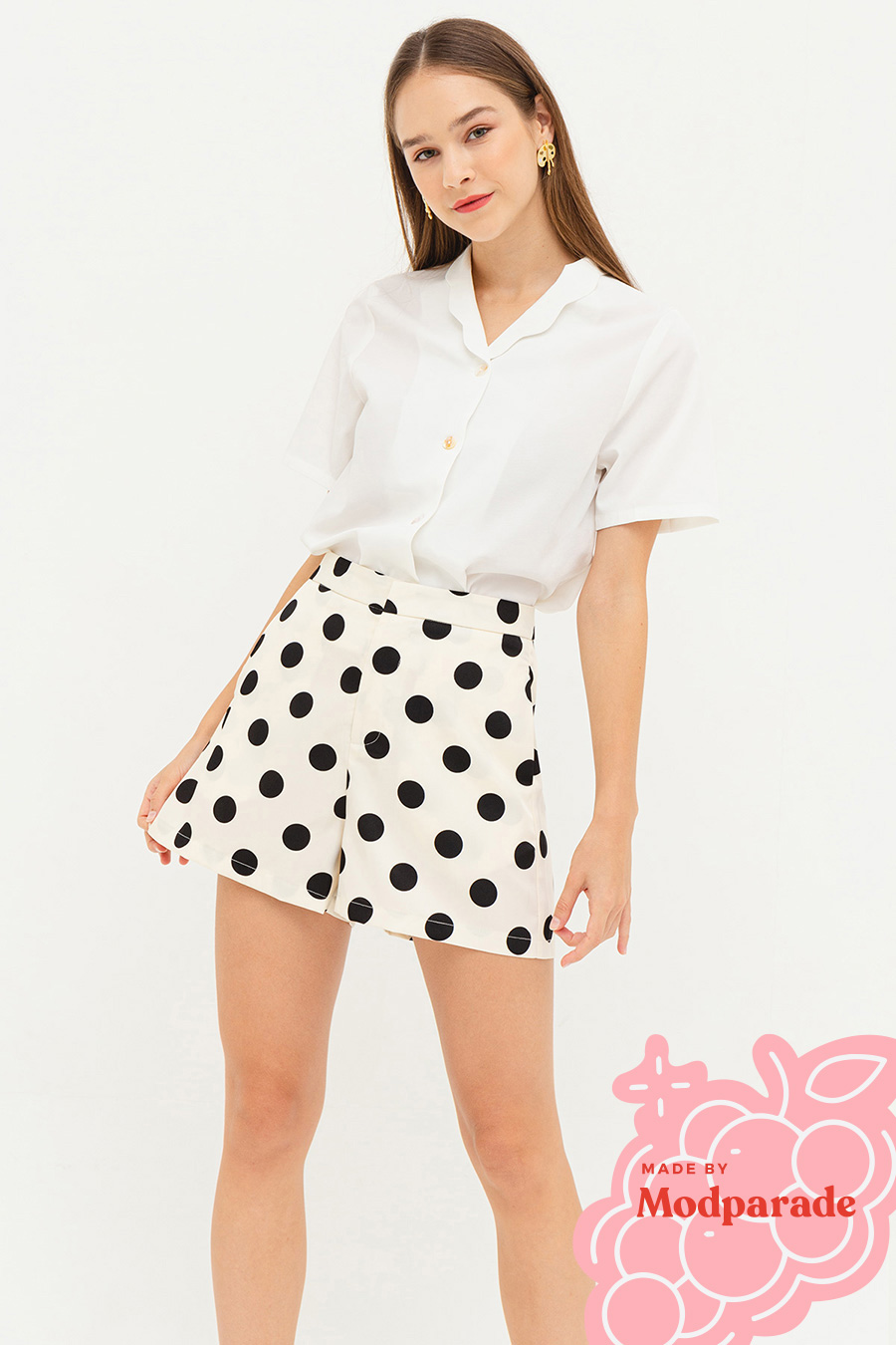 TAMARA SHORTS - IVORY DOTTY [BY MODPARADE]