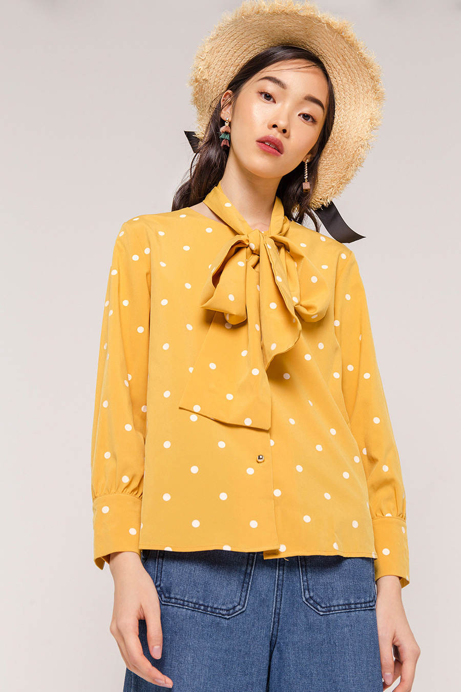 TATE DOTTED BLOUSE - MARIGOLD [QUEENDOM]