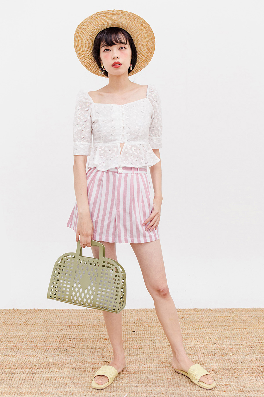 THELMA SHORTS - BLUSH STRIPE