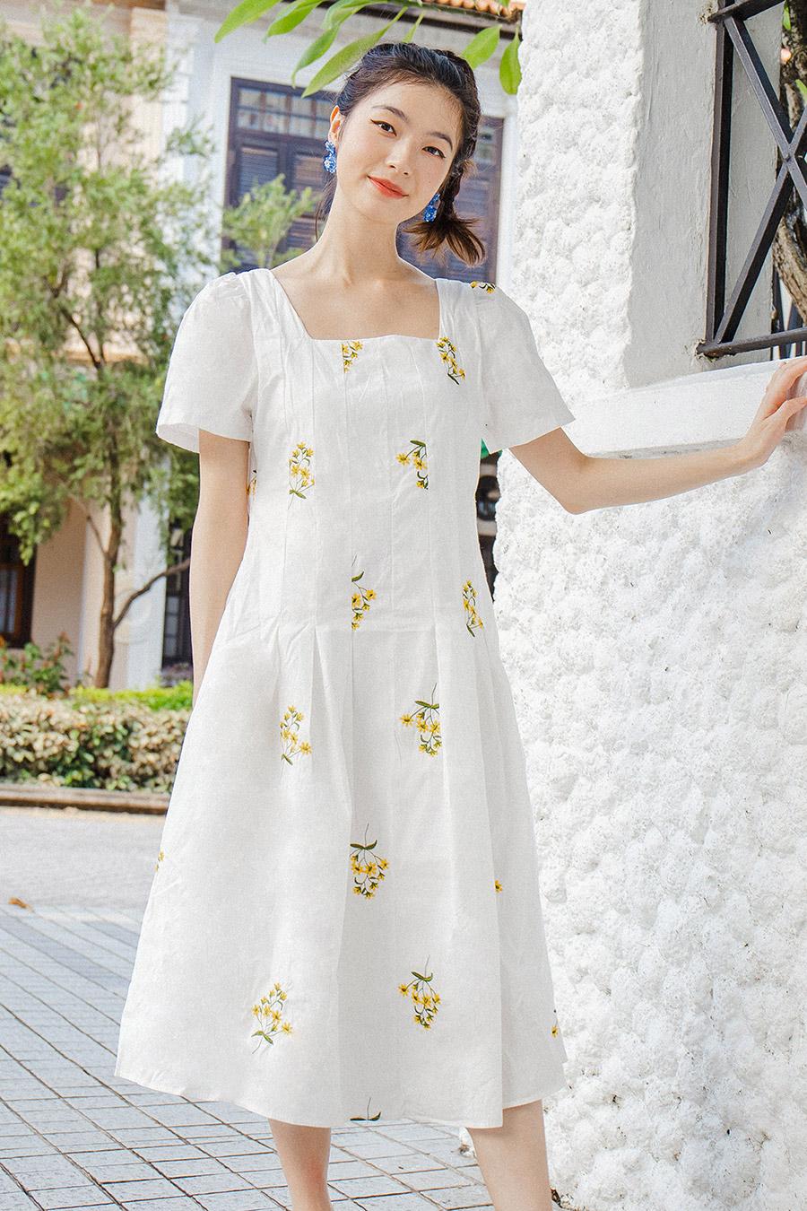 TINA DRESS - IVORY FLEUR