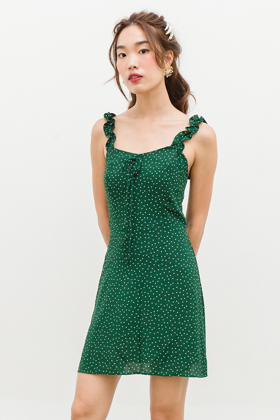 *BO* TREVINA DRESS - EMERALD DOTTY