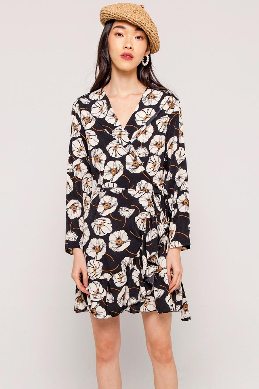 *SALE* VERA FLORAL WRAP DRESS - NOIR