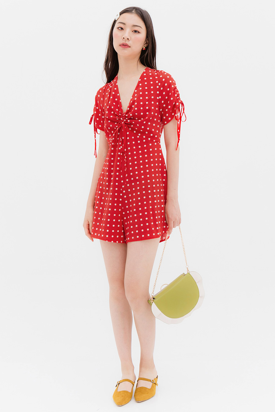 VIVANNE PLAYSUIT - CRIMSON DOTTY