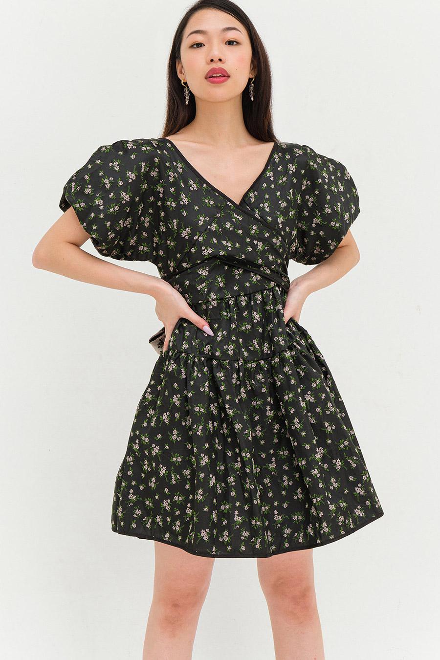 WHEELER DRESS - NOIR FLEUR
