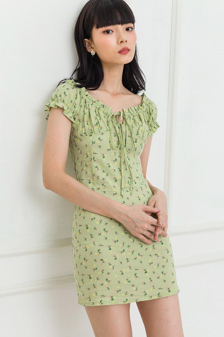 YUKIO DRESS - PISTACHIO FLEUR