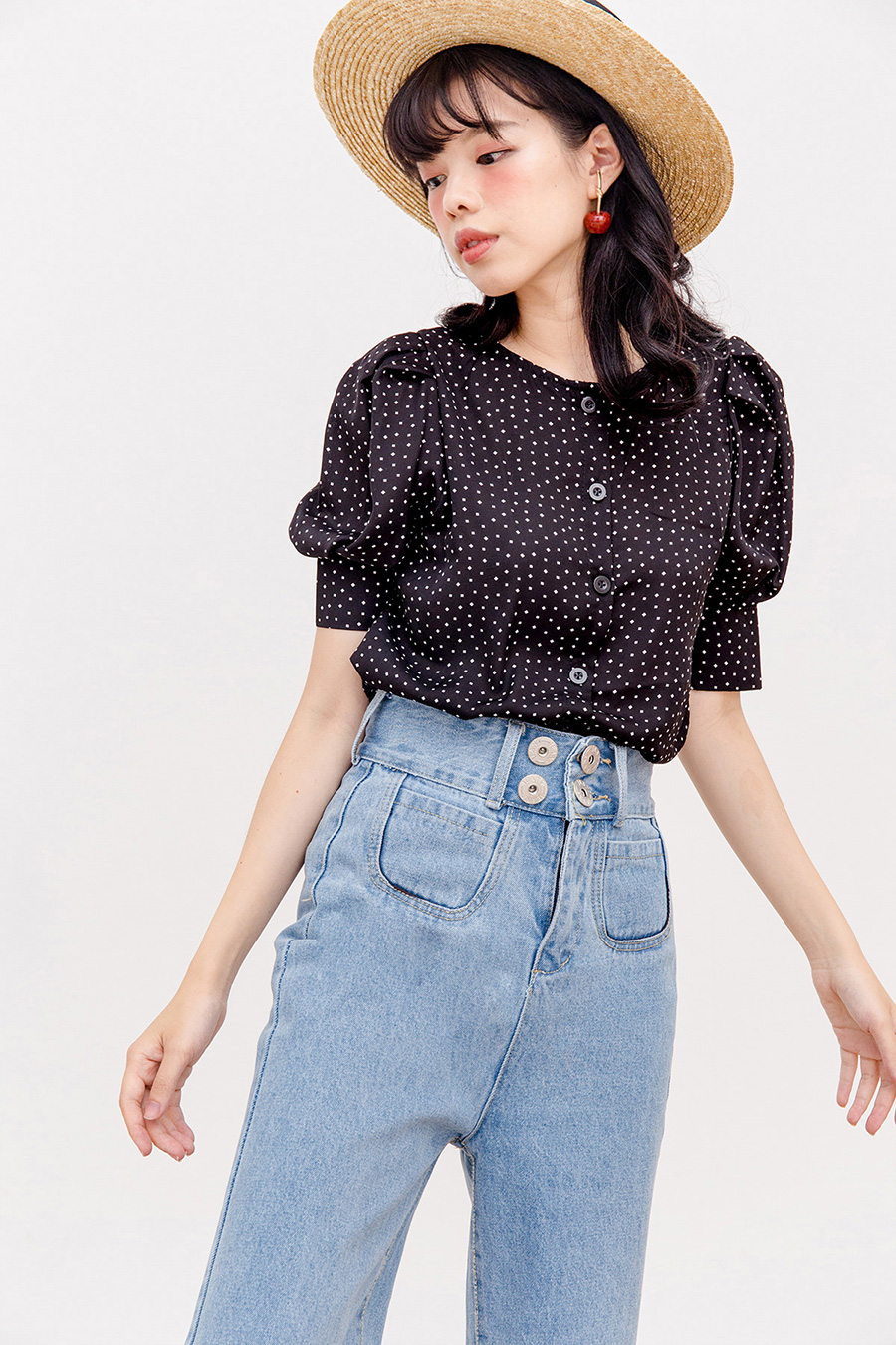 YUNA TOP - NOIR DOTTED