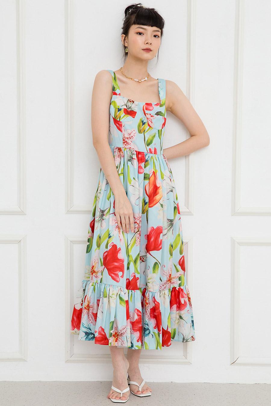 YVETTE DRESS - LAGOON FLEUR