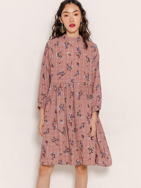 SARA FLORAL BABYDOLL DRESS - DUSTY PINK [STUDIO]
