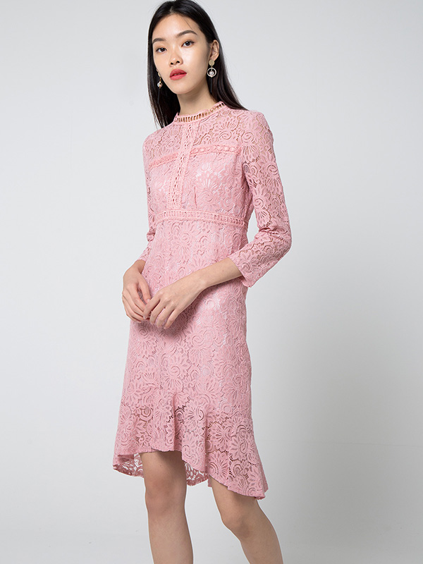 SHELBY MERMAID LACE DRESS - PINK
